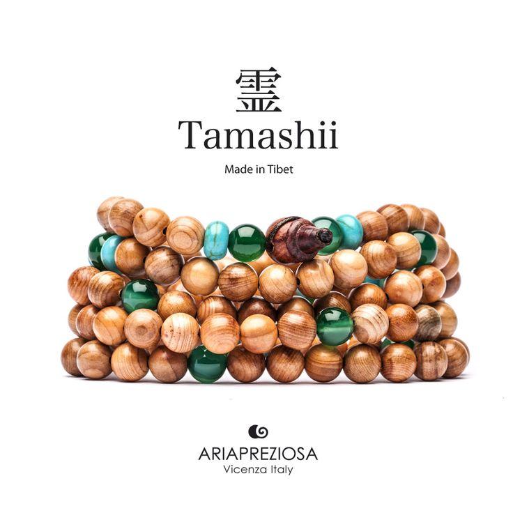Tamashii - Mala Tibetana in Legno Hua Qi Nanmu profumato e pietre naturali Turchese e Agata Verde