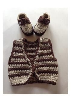 Set of Two Baby Brown Crochet Vest & Baby Booties by LaBufandaLLC