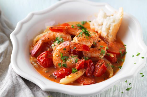 Try this Spanish-style summer seafood dish of pan-fried prawns with garlic, fresh fennel and cherry tomatoes with sherry and parsley. Perfect for a tapas party!