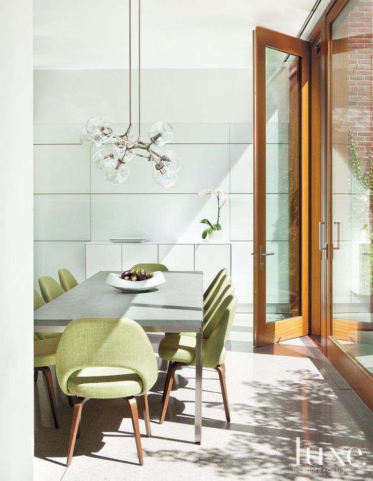 Modern White Breakfast Area With Green Chairs    Green Is Carried Through  To The Breakfast Area In Linen From Cowtan U0026 Tout On A Set Of Reproduction  ...