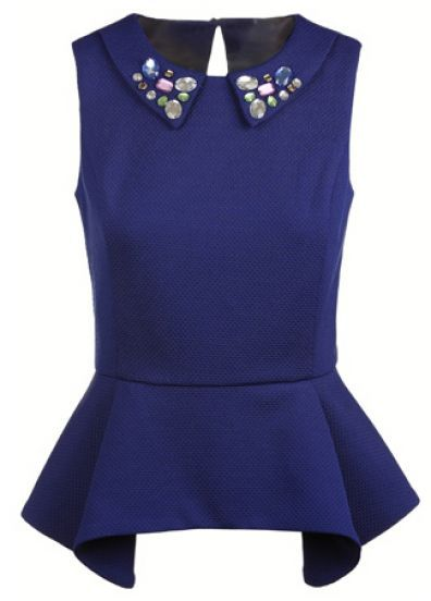 Blue Sleeveless Rhinestone Ruffles Back Hollow Blouse | SheInside