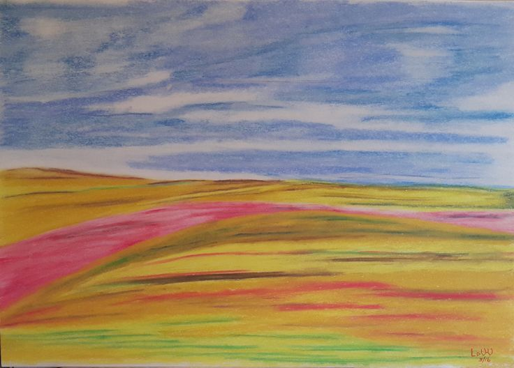 Cosmos fields in Ficksburg, South Africa. Pastel painting, A3 paper. Photograph Francois A Venter (used with permission)