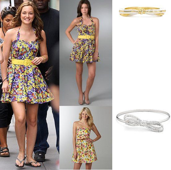 On Blair: Alice + Olivia Belted Floral Dress, Rachel Leigh Bow Bangle.