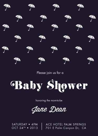 baby shower invitations - Raining Umbrellas by lünegrafik