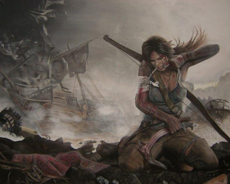 Tomb Raider 2012 Lara Croft - Acrylic Painting  by ~CurlyWurly808