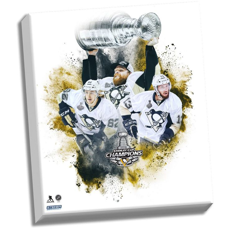 Pittsburgh Penguins 'HBK Line' 22x26 Stretched Canvas With Championship Logo