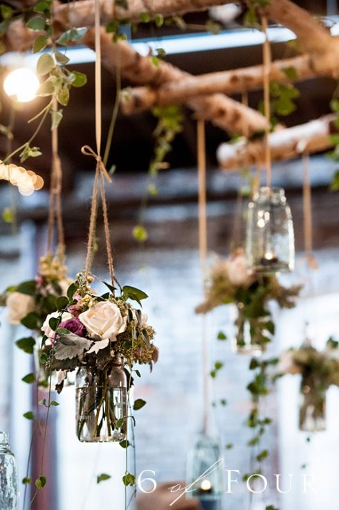 Hanging floral mason jars | Bold American Events