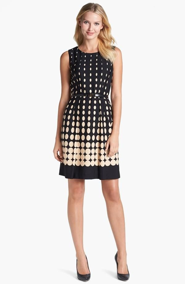 Flattering! Dot Fit & Flare Dress