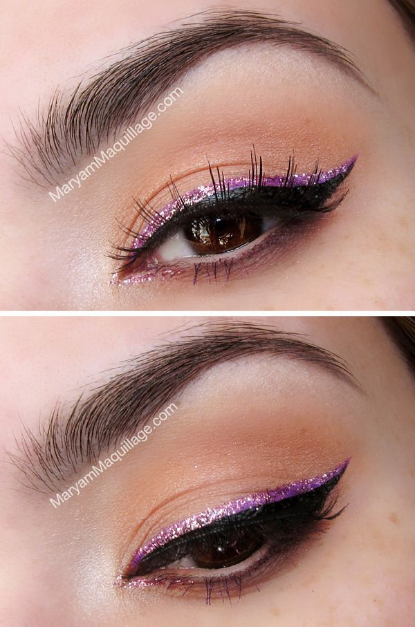 Purple glitter liner over black cat eye. Absolutely gorgeous. Really makes your eyes pop.