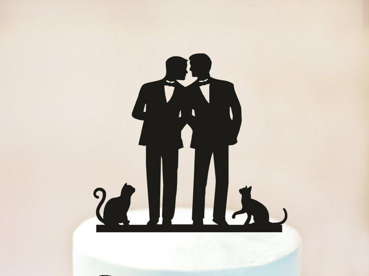 Gay wedding cake topper with cat,same sex wedding with cat,Gay wedding,Gay with cat cake topper, groom gift, gay cake topper + cats (1021) by TopperRoom on Etsy https://www.etsy.com/listing/482957267/gay-wedding-cake-topper-with-catsame-sex