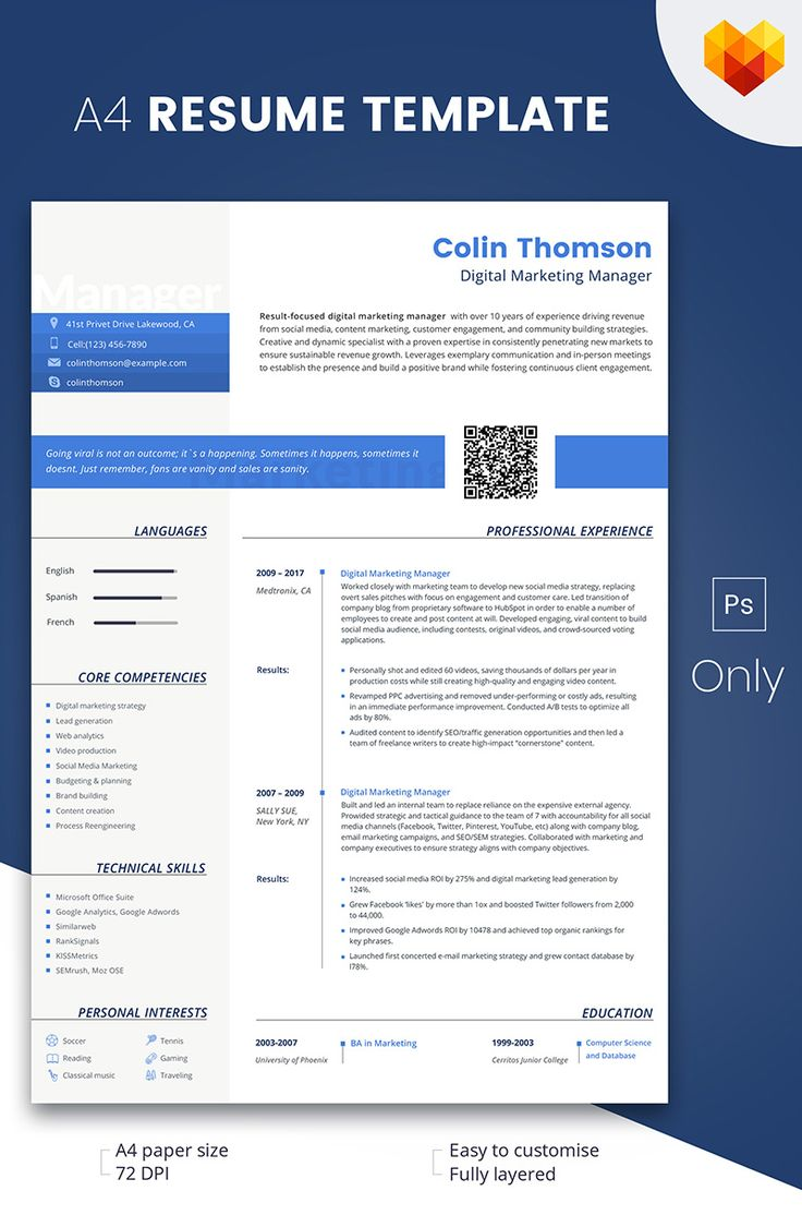 Colin thompson digital marketing manager resume template