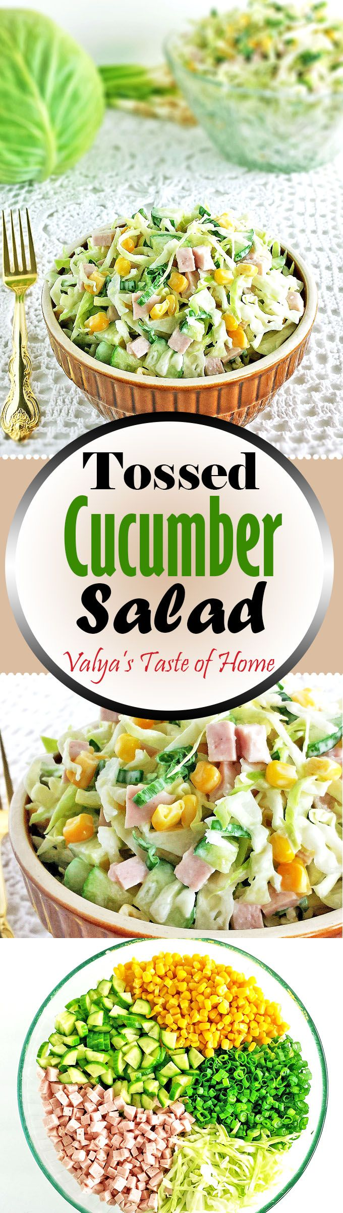 Crunchy cabbage, cucumbers, chives and all the rest of the ingredients mixed with this brand of mayo, turns out a perfectly tasty salad. Great for any occasion or holiday.