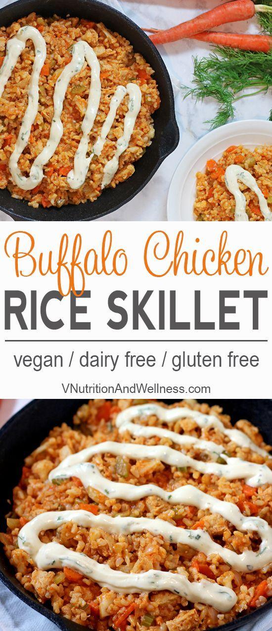 Vegan Buffalo Chicken Rice Skillet   Vegan chicken, brown rice & veggies make a perfect football meal! vegan recipe, buffalo chicken via @VNutritionist
