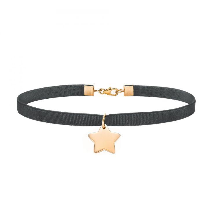 Choker z pozłacaną gwiazdką na grafitowej wstążce - Naszyjniki - Biżuteria - Sklep internetowy Lilou