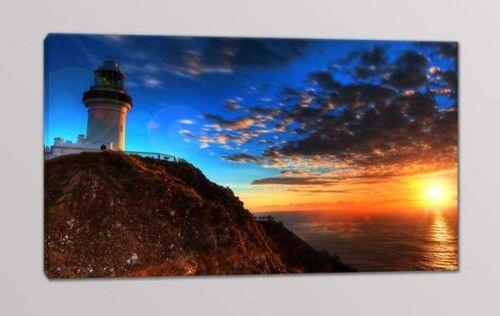 quadro moderno faro tramonto