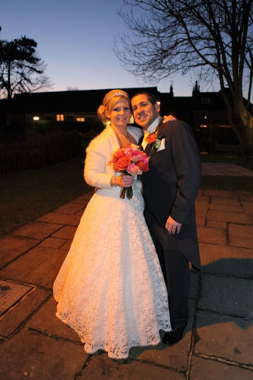 Bride and groom in the evening at Winters Barns