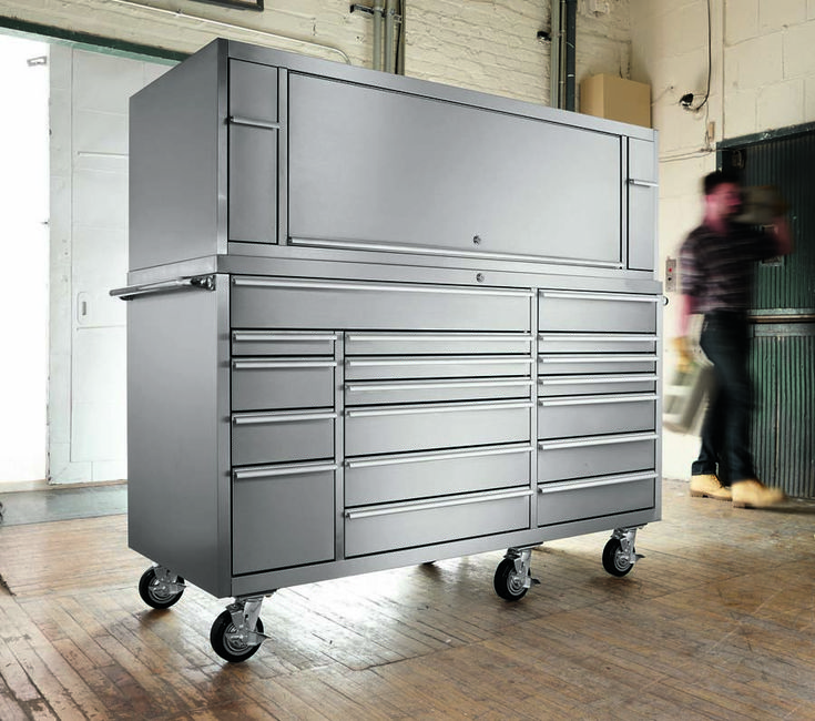 20 Drawer Stainless Steel Tool Box Hutch Combo - Car Guy Garage ...
