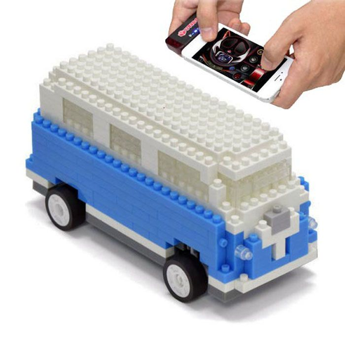 Bluetooth Controlled Micro Brick Camper Van | UTICO RC Car iPhone Android iOS 6 7 | Yellow Octopus