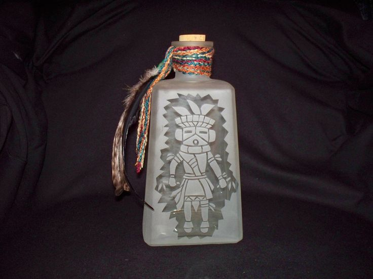 Southwestern Etched Glass Decanter-Bottle-Kachina Dancer-Feathers-Beads-Home Decor-Southwest Gift-Liquor Bottle-Unique Art Bottle by RiverbendEtchedGlass on Etsy https://www.etsy.com/listing/493839179/southwestern-etched-glass-decanter