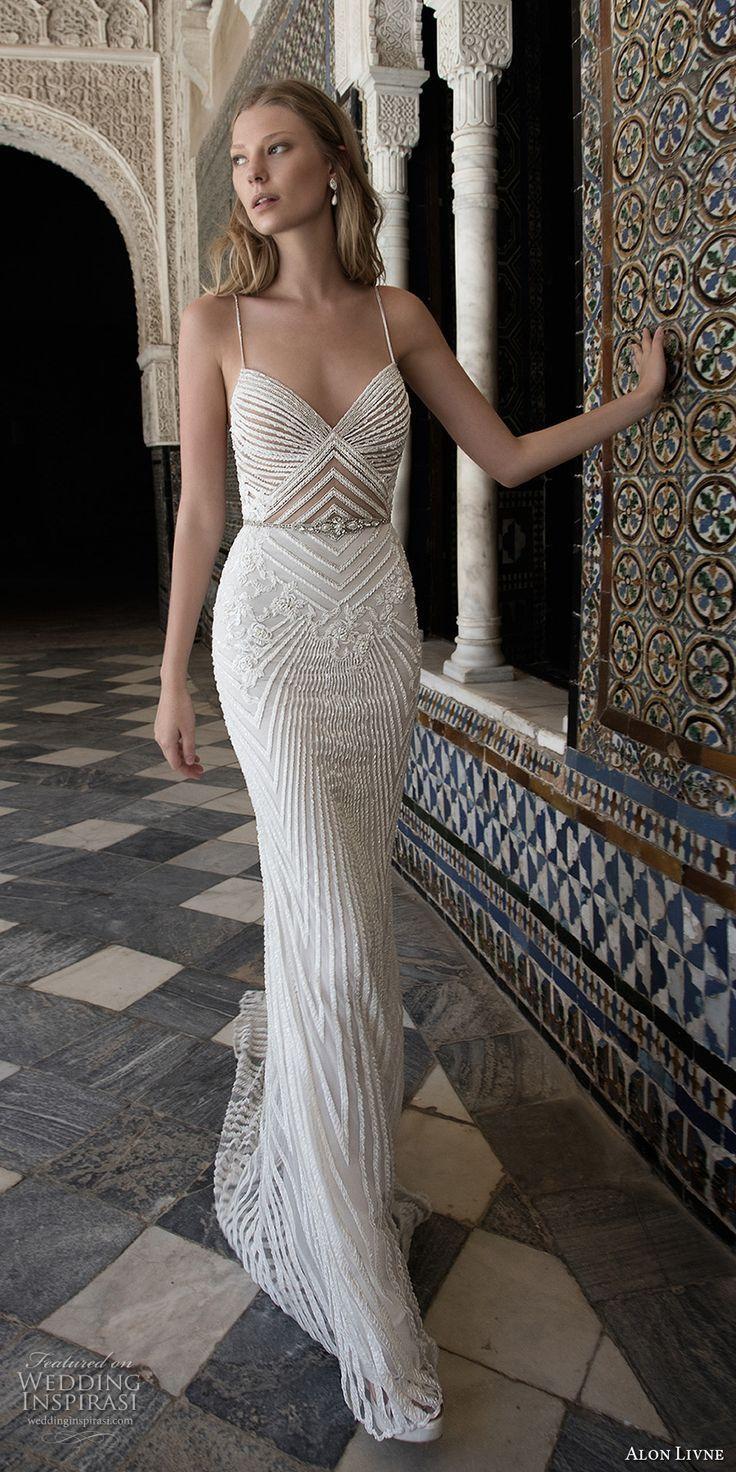 alon livne 2017 bridal sleeveless spagetti strap sweetheart neckline full embellishment elegant glamorous sheath wedding dress chapel train (alison) mv