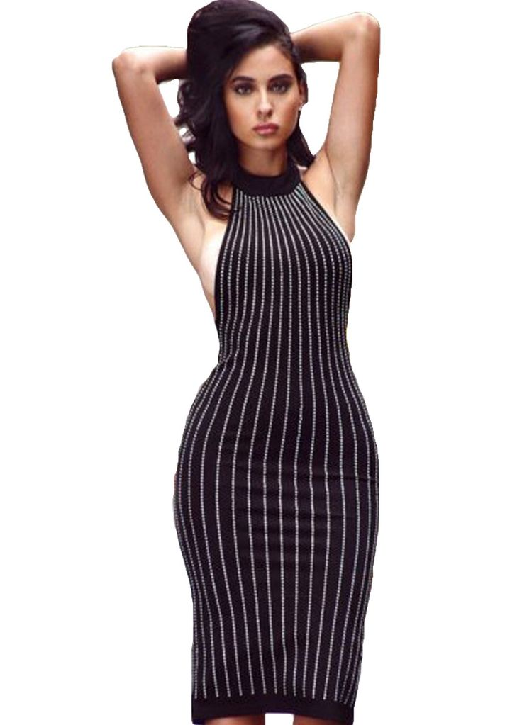 Chic Rhinestones Mock Neck Bodycon Midi Dress_Midi Dress_Dresses_Sexy Lingeire | Cheap Plus Size Lingerie At Wholesale Price | Feelovely.com