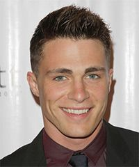 Colton Haynes - The back and sides of this neat and tidy 'do is clipper cut short with a number 1-2 blending into the top jagged cut layers which gives this look plenty of height and texture. This hairstyle is easy to style with a little wax or moulding paste for hold and shine.