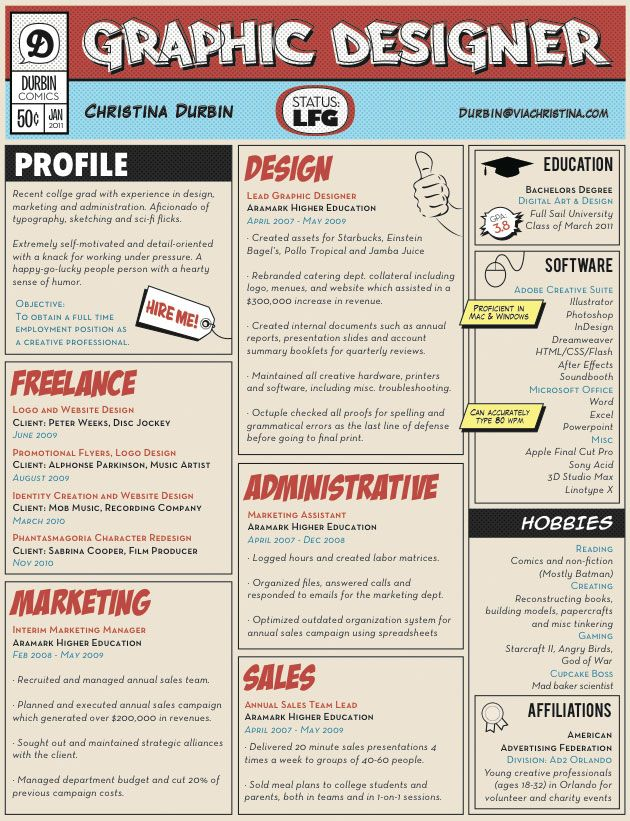 example of a creative resume for graphic designers  from the daily muse