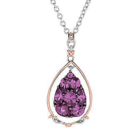 159-206 - Gems en Vogue 2.24ctw Color Change Purple Garnet Teardrop Cluster Pendant