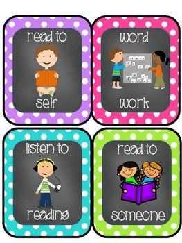 Chevron-Polka Dot-Chalkboard Themed Daily 5/Literacy Center Cards Freebie