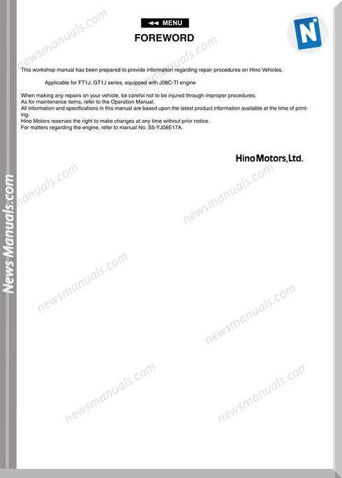 Hino Truck Ft1j Gt1j Service Manuals Manuals
