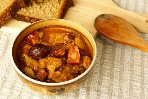 Грибной суп с шукрутом и ветчиной