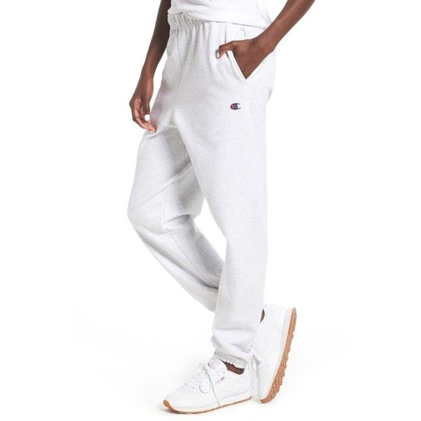 Women's Champion Sweatpants ($40) ❤ liked on Polyvore featuring activewear, activewear pants, silver grey, champion activewear, champion sportswear, champion sweatpants and sweat pants