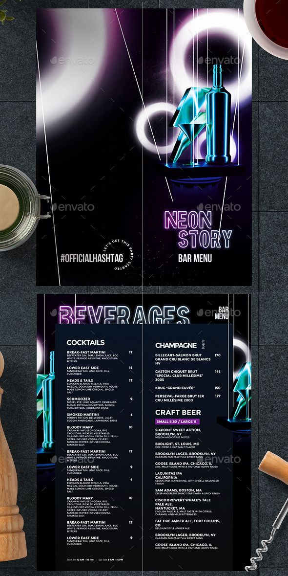 Drinks Menu Template Psd Creative Menu In Neon Style A Great