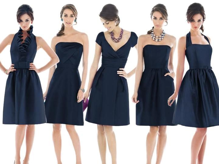 alfred sung midnight : PANTONE WEDDING Styleboard : The Dessy Group...different styles, same color & fabric? hmmm