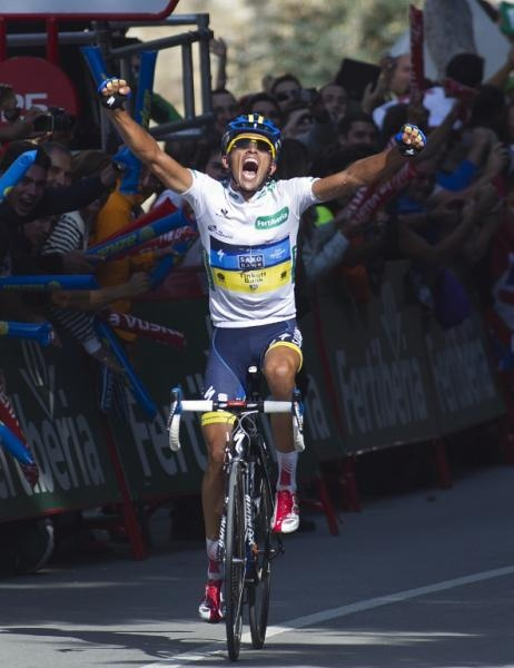 Alberto Contador (Saxo Bank-Tinkoff Bank) stunned his rivals at the Vuelta with a solo stage win that put him into the overall lead.