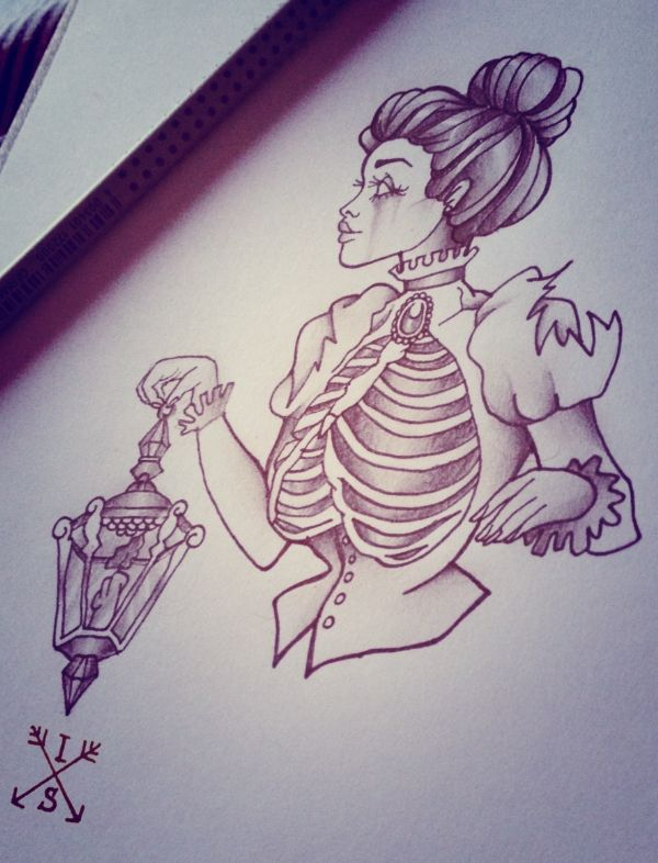 Lady with lantern, tattoo design