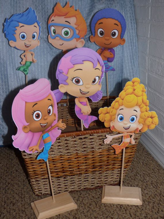 Bubble Guppies Party Centerpiece**You Choose Character***    Image Height: 10 inches  Total Centerpiece Height with Dowel Rod and Base: 15-16