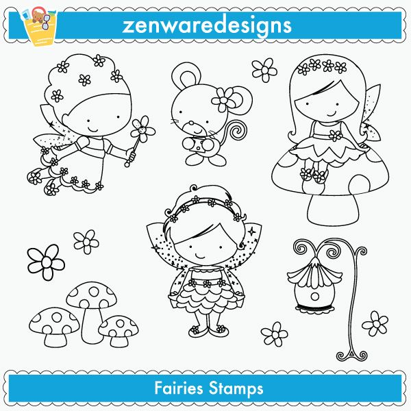 Fairies Stamps - cute fairy stamps for your craft and creative projects.