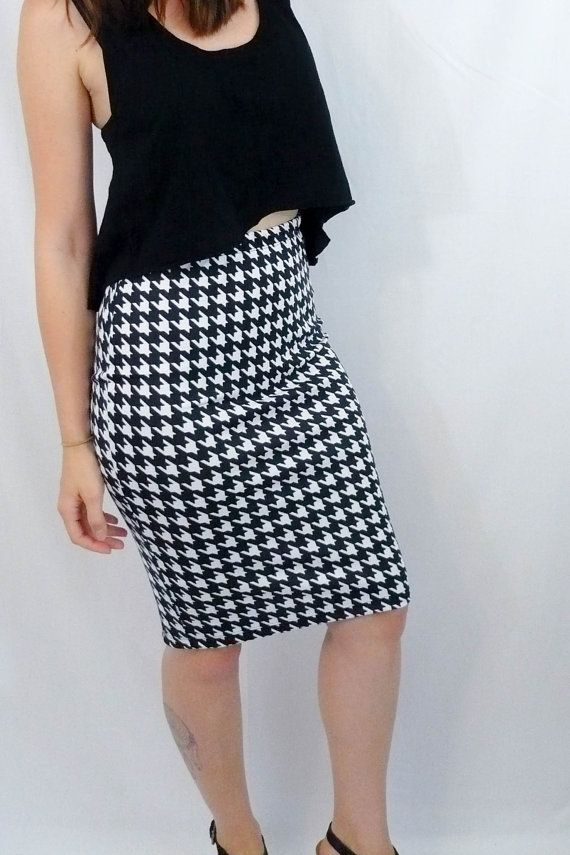 Labor Day Sale Houndstooth Pattern Pencil Skirt Black @thefeira