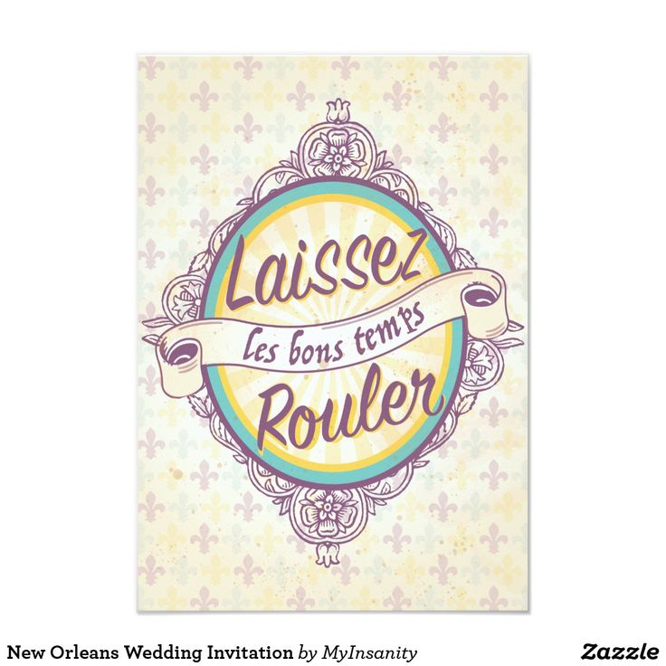 New Orleans Wedding Invitation - Laissez les bons temps roulez! Beautiful new orleans wedding invitation featuring victorian style illustration and the iconic Nola fleurs-de-lis in shades of yellow and purple. Laissez les bon temps rouler! Let's celebrate.