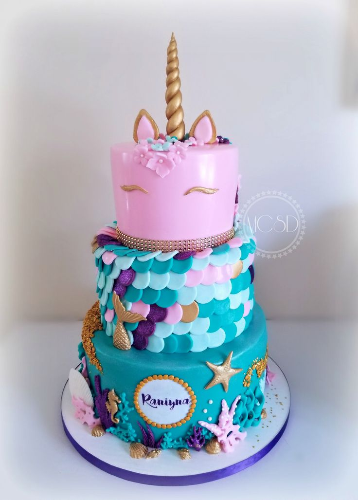 Unicorn Mermaid Cake 8th Birthday Cake Mermaid Birthday