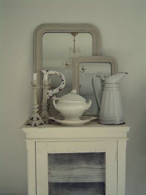 Dining Room, Linen Cabinet, Pincher, Candle Holder, Mirror, Ironstone Pot. Chalk Painted. Chippy, Shabby Chic, Whitewashed, Cottage, French Country, Rustic, Swedish decor Idea. ***Pinned by oldattic ***