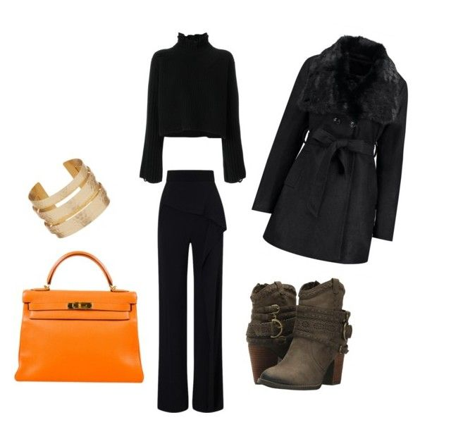"""""""winter"""" by chantallb on Polyvore featuring Golden Goose, Roland Mouret, Not Rated and Hermès"""