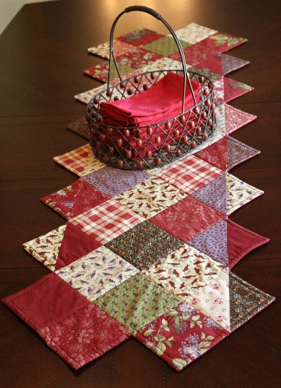 Quilted Table Runner Lilac Hill Moda Fabric of Cranberry Red, Lilac, Green Flowers, Birds, Plaid.- great idea for use of a charm pack.