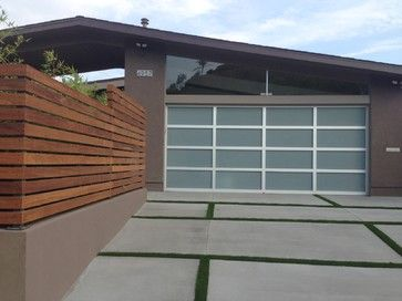 love this modern concrete and grass driveway