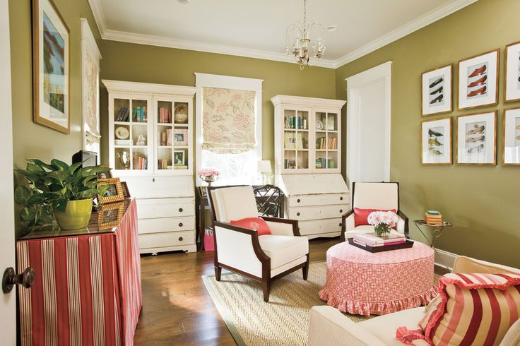 Antiques are the hallmark of Southern homes, but you don't have to have a room full of fine antiques—one nice piece in a room can elevate everything around it. The antique desk in this room gives a sense of history.