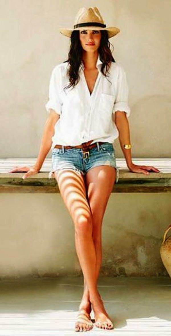 White, denim, straw hat                                                                                                                                                                                 More