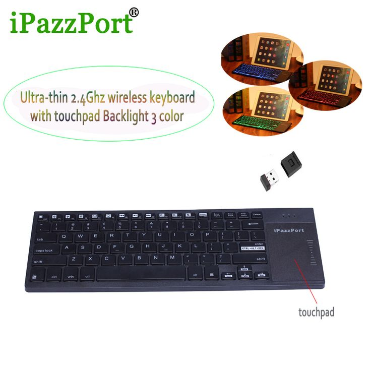 iPazzport Ultra-thin light Backlight 3 color Mini USB Wireless Keyboard with touchpad for PC,tablet laptop ,Smart tv Set Top Box #Affiliate