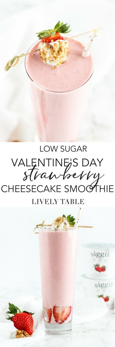 Treat yourself with a lower sugar, naturally high protein Valentine's Day Strawberry Cheesecake Smoothie made with just 5 simple ingredients! It tastes just like dessert in a glass, but is a nourishing breakfast to start the day. #sponsored @siggisdairy #smoothie #strawberry #cheesecake #yogurt #breakfast #protein