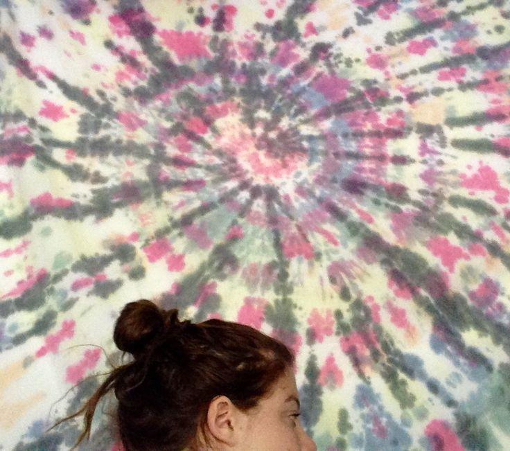 Tie dye sheet hanging on my bedroom wall xx Chloë Georgia Taylor